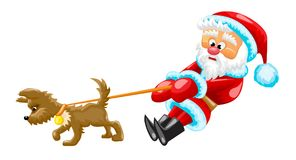 Santa with dog. Santa Claus is walking with little dog stock illustration