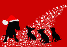 Santa dog family. vector file Royalty Free Stock Images