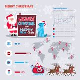 Santa And Dog Holding Meery Christmas And Happy New Year Banner Over Infographics Set Decoration. Vector Illustration stock illustration