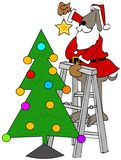 Santa dog putting a star on a Christmas tree royalty free illustration