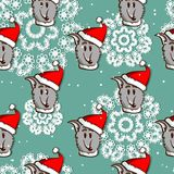 Santa Dog Seamless Pattern Photo libre de droits