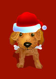 Santa doggy. A brown poodle doggy wear a Santa red hat and bite a bone in it's mouth royalty free illustration