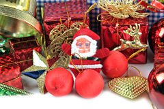 Santa doll and Accessory decorations of Christmas day. Stock Photo