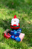 Santa doll with christmas decoration on green grass. Royalty Free Stock Photo