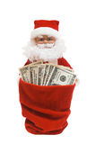 Santa with Dollars. Santa is giving a cash from his sack, on white Stock Photos