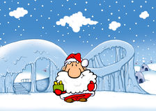 Santa donne le cadeau Image libre de droits