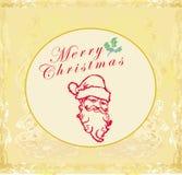 Santa Doodle Retro Card Immagine Stock Libera da Diritti