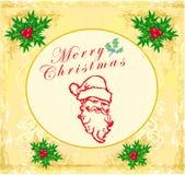 Santa Doodle Retro Card Fotografia Stock Libera da Diritti