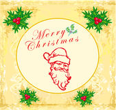 Santa Doodle Retro Card Royalty Free Stock Photography