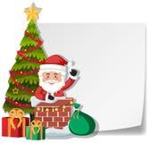 Santa doręczeniowy prezent kominu papieru szablonem royalty ilustracja
