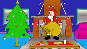 Santa Dostarcza prezenty Przez graby ilustracja wektor