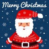 Santa drôle Fond de carte de voeux de Noël Photo libre de droits