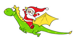 Santa on dragon. Santa flying on a dragon Royalty Free Stock Photo