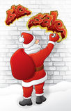 Santa draws sale. Santa draws big sale on the brick wall Royalty Free Stock Photos