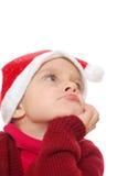 Santa dreamy child girl Royalty Free Stock Photo