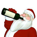Santa Drinking Wine. Santa Tipping Back a Bottle of Wine Royalty Free Stock Images