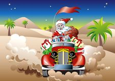 Santa on the drive Royalty Free Stock Image