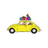 Santa drives beetle car Stock Images