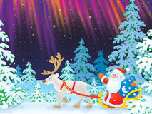 Santa drives in a sledge with reindeer. High-resolution illustration: Santa Claus with Christmas gifts drives in the sledge with reindeer in snow-covered forest Stock Photo