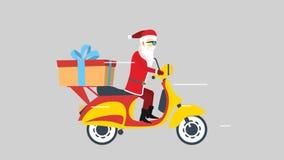 Santa and his yellow scooter