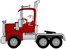 Santa driving a red semi truck. This illustration depicts Santa Claus driving a red semi truck Stock Image