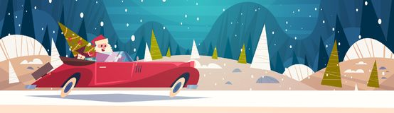 Santa Driving Retro Car With Green Tree And Presents In Winter Forest Merry Christmas And Happy New Year Poster. Background Flat Vector Illustration vector illustration