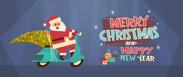 Santa Driving Scooter With Pine Tree, Merry Christmas And Happy New Year Greeting Card Winter Holidays Concept Banner Royalty Free Stock Images