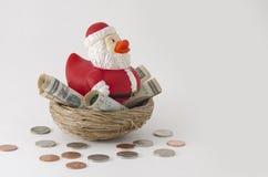 Santa duck Savings for Christmas Stock Image