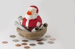 Santa duck Savings for Christmas Royalty Free Stock Images