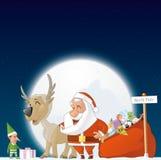 Santa, duende e rena no Polo Norte Fotografia de Stock