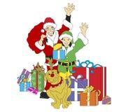 Santa, duende, y Reindog stock de ilustración