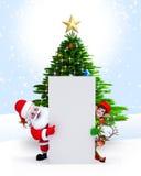 Santa, duendes y reno con la muestra Fotos de archivo
