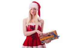 Santa dziewczyna jest wzburzona przez złego prezenta Fotografia Royalty Free