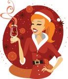 Santa dziewczyna z rozmyślającym winem ilustracji
