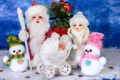 Santa e bei giocattoli di Natale Fotografia Stock Libera da Diritti