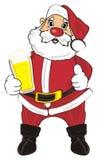 Santa e birra Immagine Stock