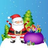 Santa e borsa con i regali Fotografia Stock