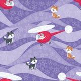 Santa e cães roncos Imagens de Stock Royalty Free