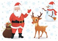 Santa e cervi. Fotografia Stock
