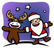 Santa e cervos ilustração stock