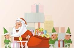 Santa e elfs Foto de Stock Royalty Free