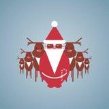 Santa e la sua illustrazione del gruppo della renna Fotografia Stock Libera da Diritti