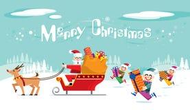 Santa e la sua squadra sta preparandosi per decollare Il Natale sta venendo illustrazione di stock