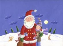 Santa e miúdo Imagens de Stock Royalty Free