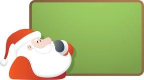Santa e placa verde do espaço em branco Imagem de Stock Royalty Free