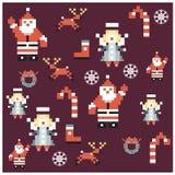 Santa e progettazione di natale dei caratteri del pixel di angeli Immagine Stock