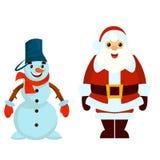 Santa e pupazzo di neve Fotografia Stock Libera da Diritti