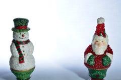 Santa e pupazzo di neve fotografie stock libere da diritti