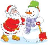 Santa e pupazzo di neve Immagine Stock