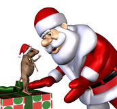 Santa e rato do Natal - com trajeto de grampeamento Fotos de Stock Royalty Free